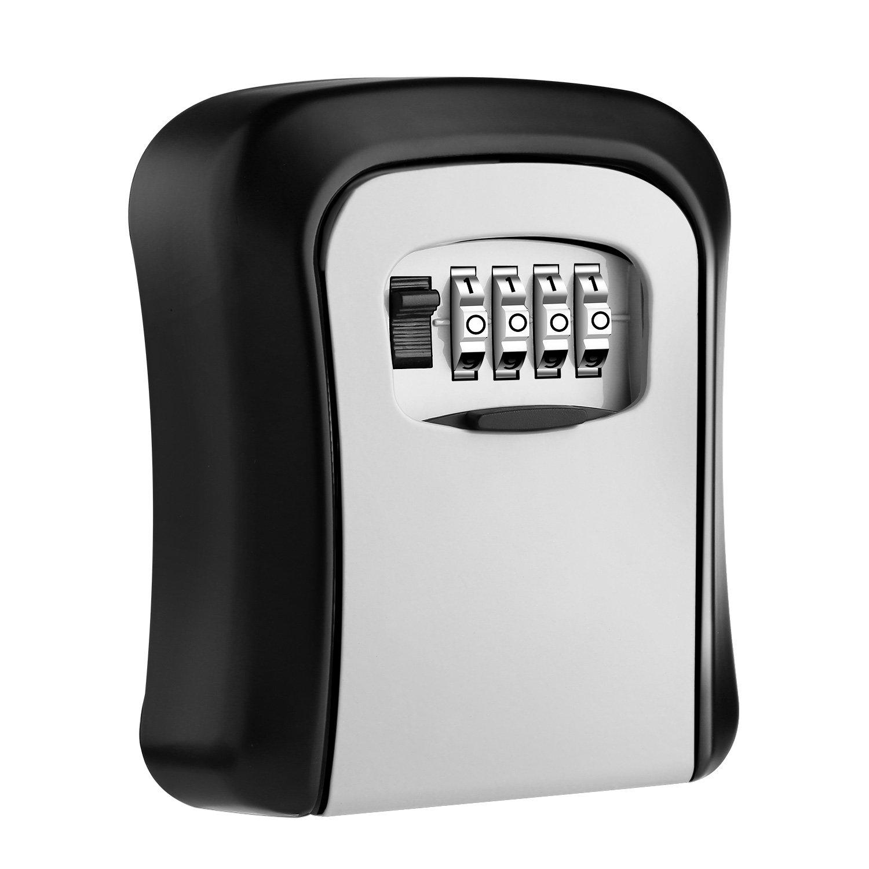 AUTSCA Key Lock Box Wall Mounted Stainless Steel Key Safe Box Weatherproof 4 Digit Combination Key Storage Lock Box Indoor Outdoor