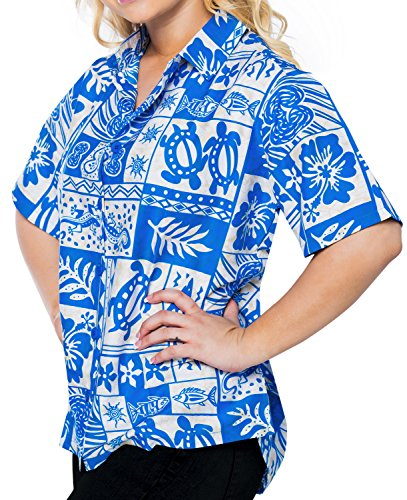 hawaiische Bademoden Hemdkleid mit kurzen �rmeln Bluse Knopf unten 993 b_blue l Damen