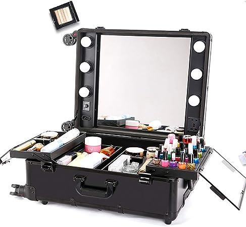 GXJ XHH-Artista de Maquillaje Estuche de cosméticos 6 Bombilla de luz LED Ajustable Pierna Espejo Cosmético Tren Mesa, Black: Amazon.es: Hogar