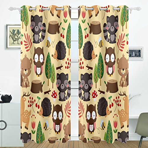 ALIREA Woodland Light Background Blackout Curtains Darkening Thermal Insulated Polyester Grommet Top Blind Curtain for Bedroom, Living Room,2 Panel (55W x 84L - Thermal Woodland