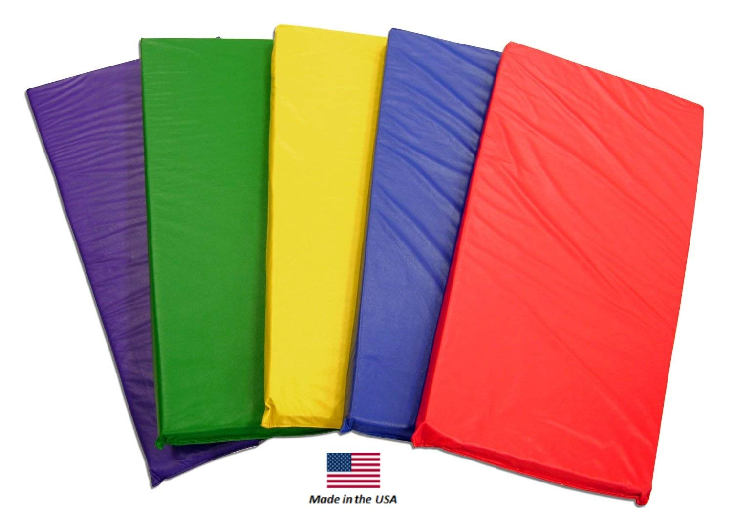 KinderMat Kids Rest Mats (5-Pack), Rainbow Designer, Non-Folding, 2-Inches Thick, 2'' x 22'' x 48'', Red, Yellow, Green, Blue, Purple, School, Home, Daycare