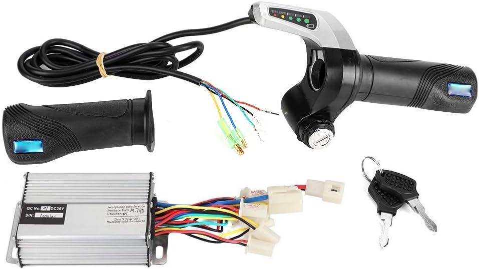 DEWIN Controlador de Velocidad Grip - 36V 1000W Bicicleta eléctrica Cepillado Caja del regulador de Velocidad del Acelerador Kit de Agarre for el 7/8 Pulgadas Barra de la manija