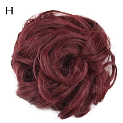 Huphoon Premium Womens Curly Messy Bun Hair Twirl Piece Wigs Extensions Natural Wave Hairdressing (h