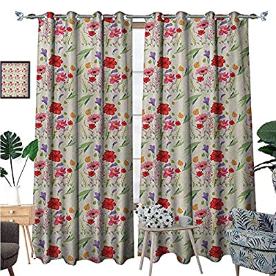 BlountDecor Nature Window Curtain Fabric Colorful Flourishing Meadow Flowers Herbs and Leaves Fresh Growth Botanical Artful Drapes for Living Room W72 x L96 Multicolor