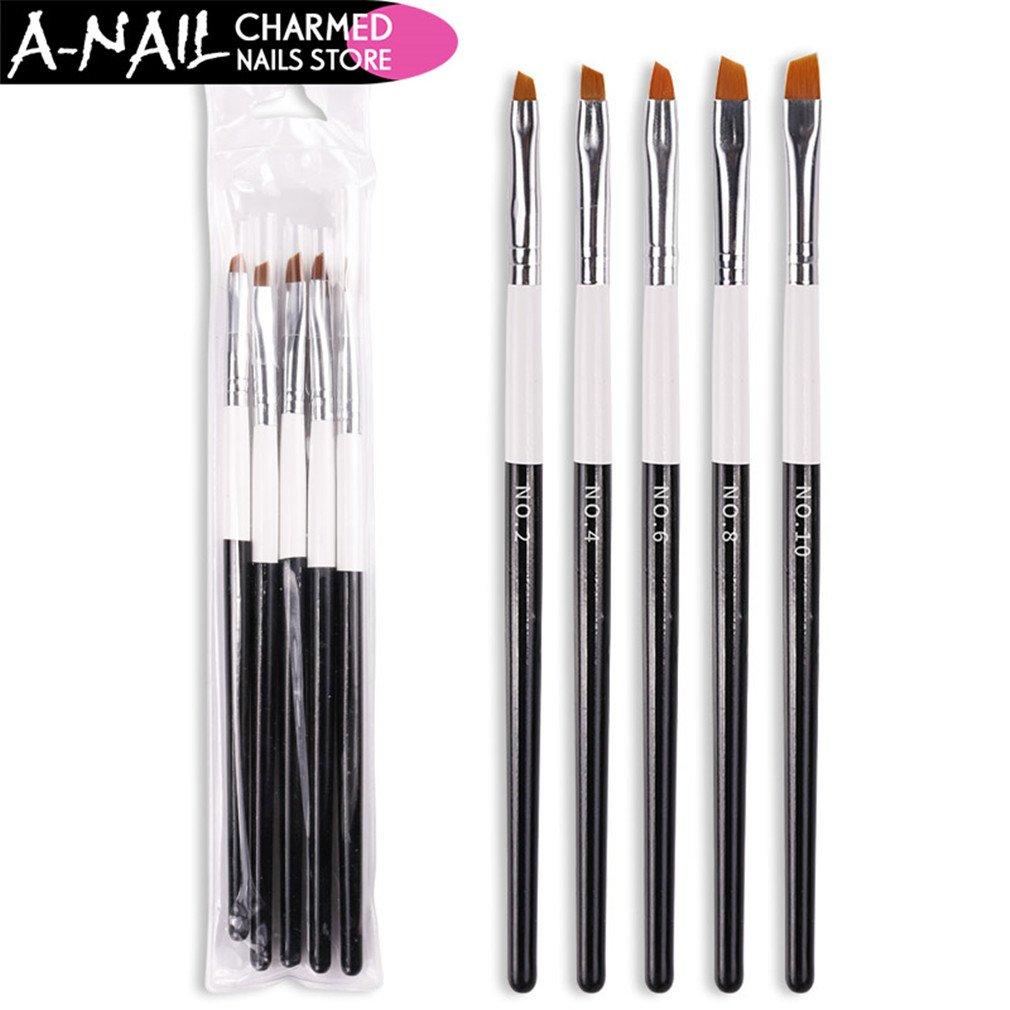 5Pcs/Set No. 2 4 6 8 10 Nail Art Brush Acrylic Polish Gradient Painting Pen Brush Manicure Nail Art Tools 1 set 5 pcs