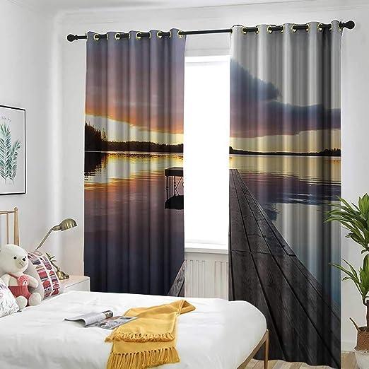 AndyTours Cortina de Puerta corredera con diseño de Ventana Abierta en el mar con un Ribete de Madera: Amazon.es: Hogar