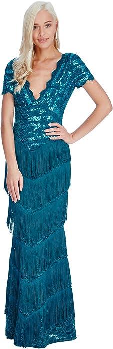 Goddiva Sequin Lace Flapper Fringe Long Formal Maxi Evening Dress Prom Ball