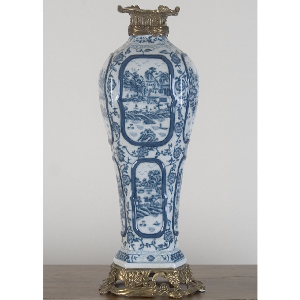 Home decor. Blue and White Village Vase. Dimension: 7 x 5 x 20. Pattern: Timeless Willow.