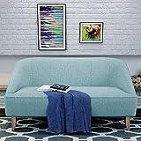 Cheap Christopher Knight Home 302029 Justus Mid Century Modern Fabric Loveseat, Light Blue/Natural