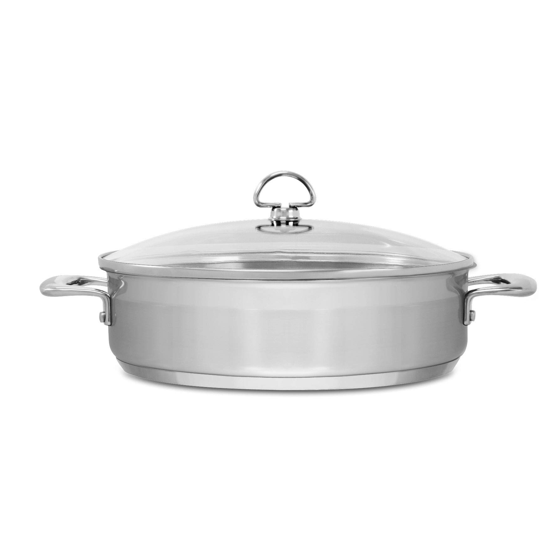 Chantal SLIN29-280 Induction 21 Steel Sauteuse with Glass Tempered Lid (5-Quart) by Chantal