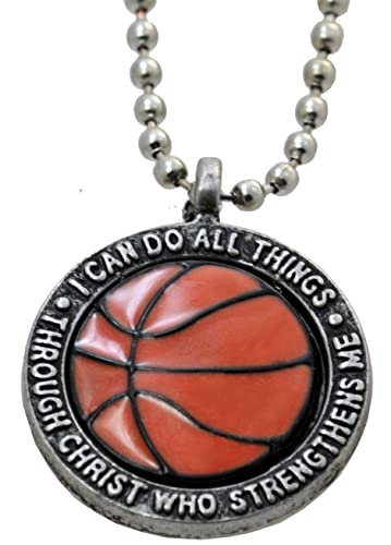 Basketball Necklace I Can Do All Things Through Christ By Forgiven Jewelry