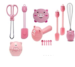 Joie Kitchen Pink Piggy 7-Piece Accessories Set - Essential Gadgets for Apartments -Measuring Spoons, Timer, Tongs, Spatulas, Wisk, Teaspoons and Heat Resistant Coaster - Oink Gadgets Bundle