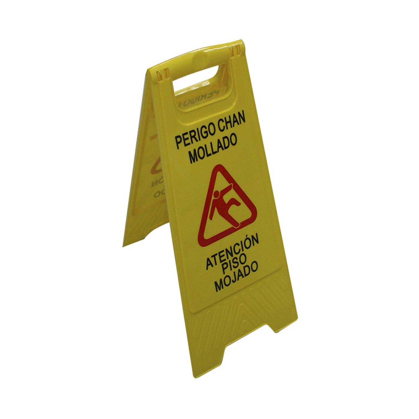 Cartel plegable de plástico Atención piso mojado: Amazon.es ...