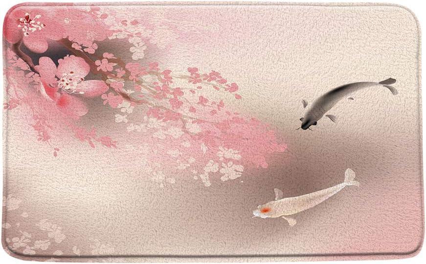 CHui DECOR Koi Fish Bath Mat Cherry Blossom Branch Petals Ornamental Fishes Romantic Japanese Painting Art Print Soft Microfiber Memory Foam Bathroom Rugs,20X31 Inch
