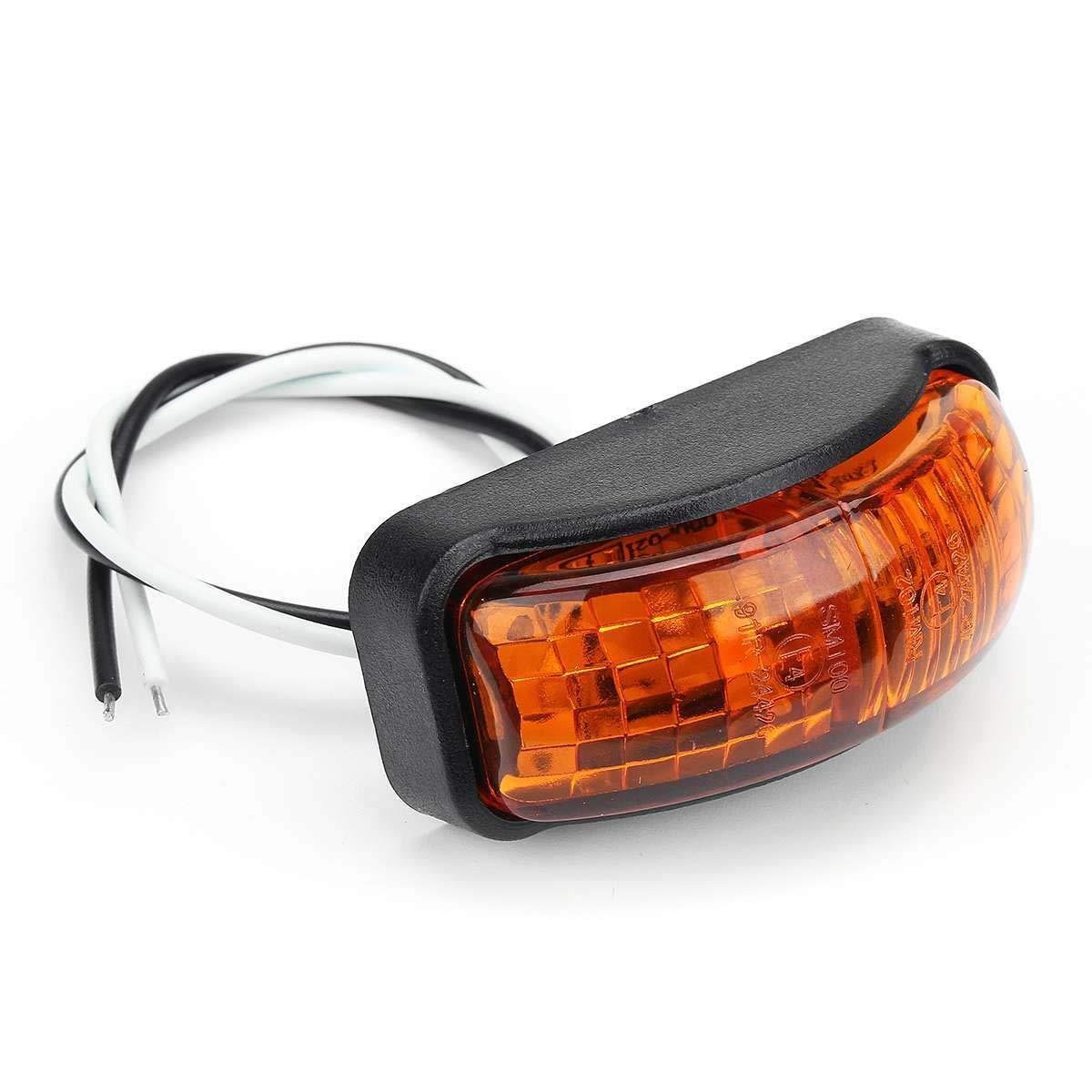 Hadeyicar 2pcs 12V Coche de la luz Exterior Blanco 6 SMD LED del Coche cami/ón Cami/ón se/ñalizaci/ón Lateral Indicador Luces del Remolque de Cola Trasera de la luz Pilota