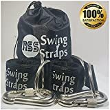 Tree Swing Hanging Kit Set of Two 5ft Long Straps with Heavy Duty Stainless Steel Carabiners Holds 1200lbs Fast & Easy Swing Hanger Installation Make Your Swing Safe