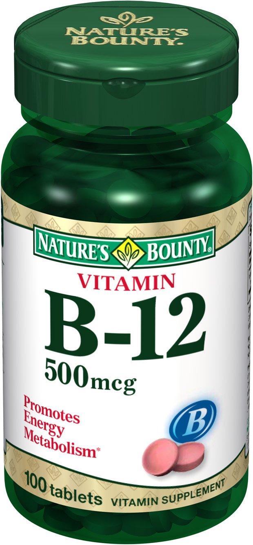 Nature's Bounty Natural Vitamin B12, 500mcg, 100 Tablets (Pack of 4)