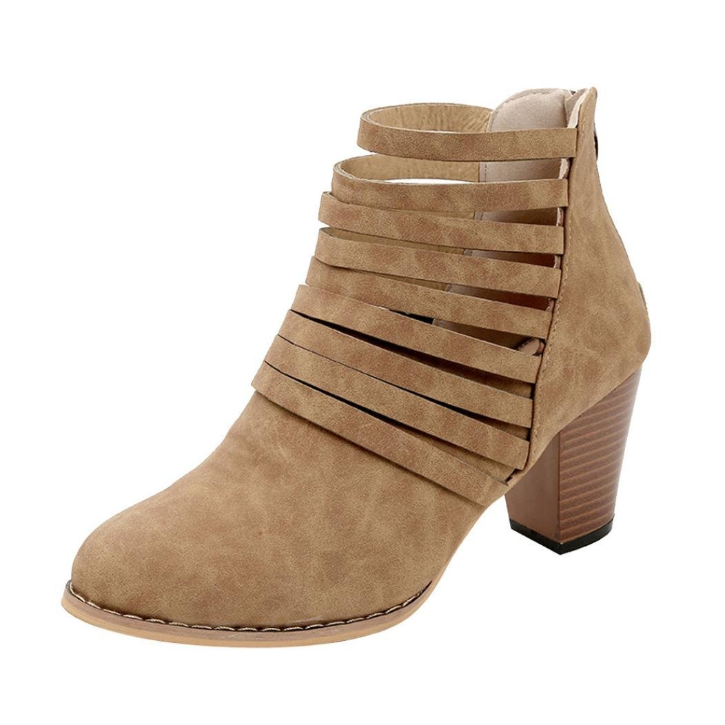 Womens Girls Wedges Ankle Bootie 5.5-9.5,Sexy Hollow Zipper Block Heels Pointed Toe Boots (Brown, US:9)