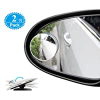 Blind Spot Mirrors For Cars - BeskooHome Waterproof Frameless 360°Rotatable Convex Rear View Mirror - Durable Side Mirror Blind Spot For Universal Cars, Vans, Trucks, Motorbike and More - 2 Pack
