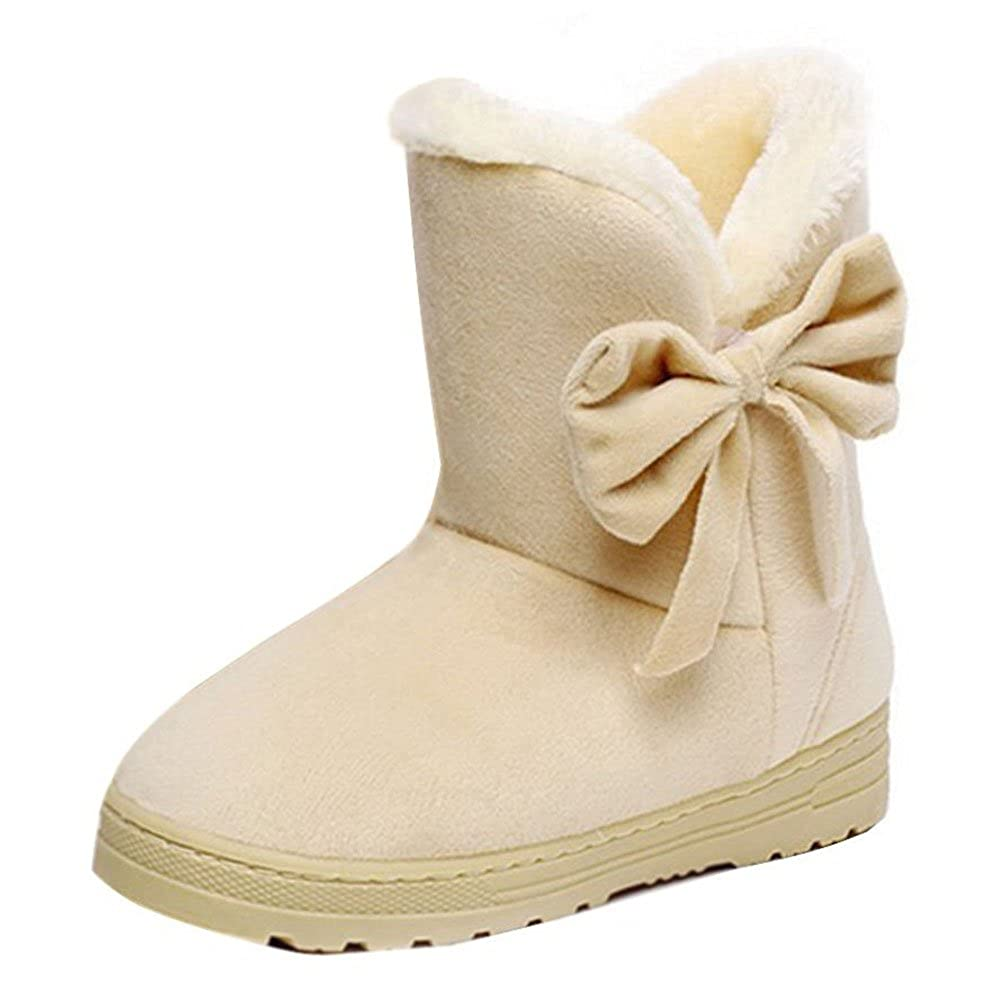 Botas de Mujer Suede Snow Boots Slip on Tobillo Low Winter Outdoor Walking Zapatos cálidos con Bowknot Decor