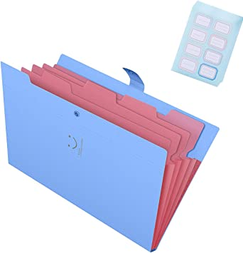 5-Pocket Handlive 4 Pack Plastic Expanding File Folders Accordion Document Organizer Bonus of 48Pcs Colored Labels and 80Pcs Colored Paper Clips A4 Letter Size Blue//Green//Yellow//Fuchsia