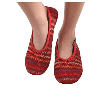 Snoozies Womens Multi Wavy Knit Ballet Non-Skid Slipper Socks - Red, Extra-Large   Slippers