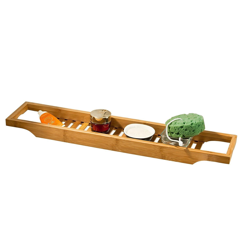 SoBuy 100% Bamboo Bathtub Rack, Bathtub Tray, Bath Shower Rack Shelf, Bath Bridge, FRG18-N