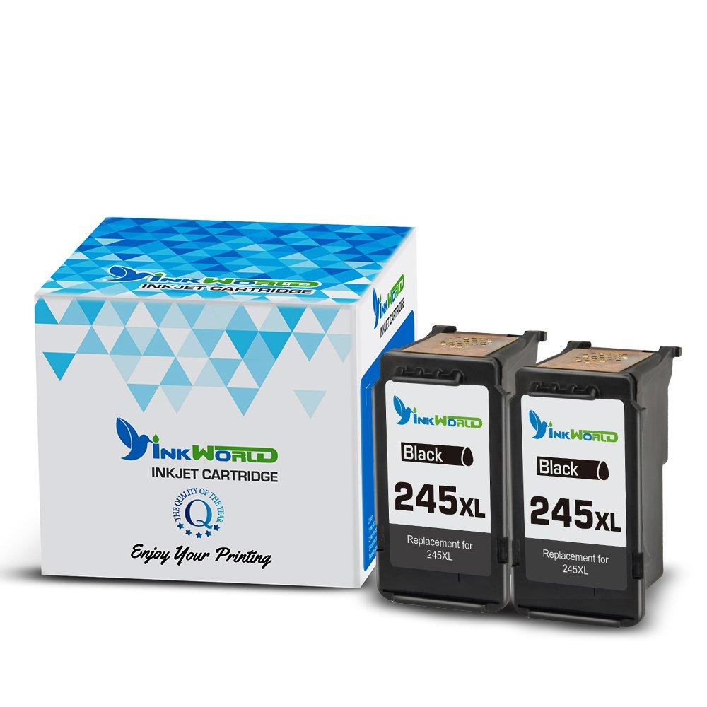 InkWorld PG-245XL PG-245 245XL 245 XL Ink Cartridge for Pixma MX492 MG2522 MG2922 MG2920 MG2520 MG2420 MX490 MG2525 2555 with Ink Level Chip(2 Black)