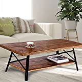 Olee Sleep 46″ Cocktail Wood & Metal Legs Coffee Table/End Table/Side Table/Dining Table/Sofa Table/TV Table/Vanity Table/Office Table/Computer Table, Rustic Brown