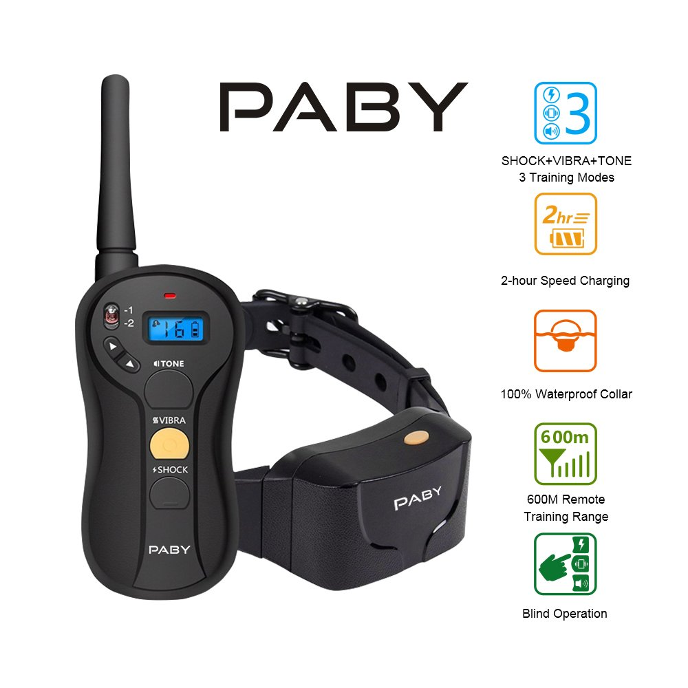 Dog Training Collar, PABY TD1 Pet Trainer Shock Collar 650 yds Remote Waterproof and Rechargeable Electric E-collar with Beep/Vibration/Shock for Small Medium Large Dog (6.6-120lbs), 1960 Foot Range