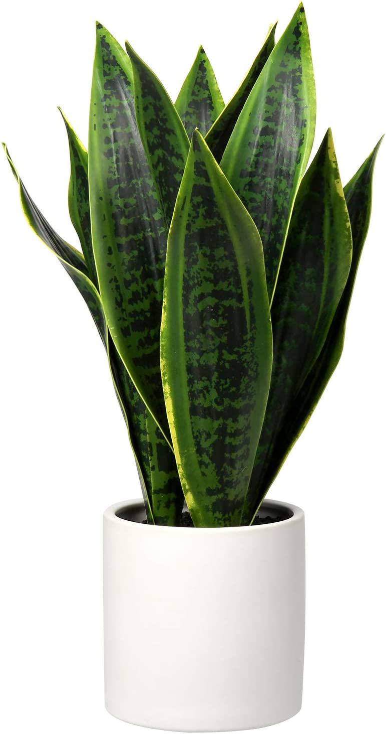 Artificial Snake Plant Fake Sansevieria with White Ceramic Pot Artificial Potted Plants for Home Office Faux Plants Indoor Outdoor Decoration Fake Plant in Pot Perfect Housewarming Gift (Green #01)