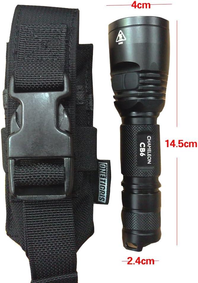 OneTigris porta torcia 1000D in nylon fodera MOLLE in nylon marsupio per torce fino a 170 mm di lunghezza.