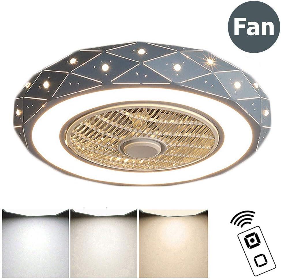 ZMLG 46W Luz de Techo con Ventilador, Creativa Ventilador de Techo con Luz y Mando a Distancia Silencioso Reversible Luces de Techo Puede Sincronizar Sala de Estar Lámpara de Dormitorio,Azul