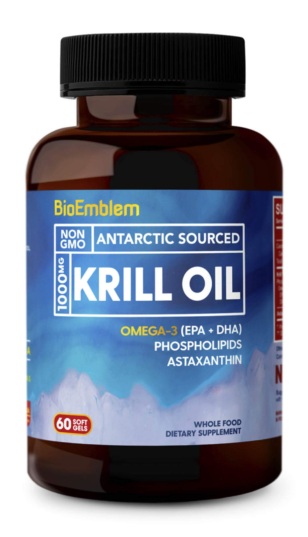 BioEmblem Antarctic Krill Oil Supplement | 1000mg | Omega-3 Oil with High Levels of EPA + DHA, Astaxanthin, and Phospholipids | No Fishy Aftertaste | 60-Count Non-GMO Softgels