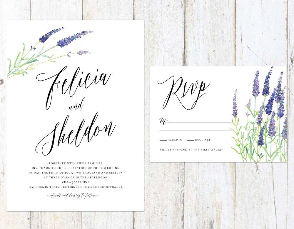 Lavender Wedding Invitation, Watercolor Wedding Invitation, Lavender Save the Date, Provence Wedding