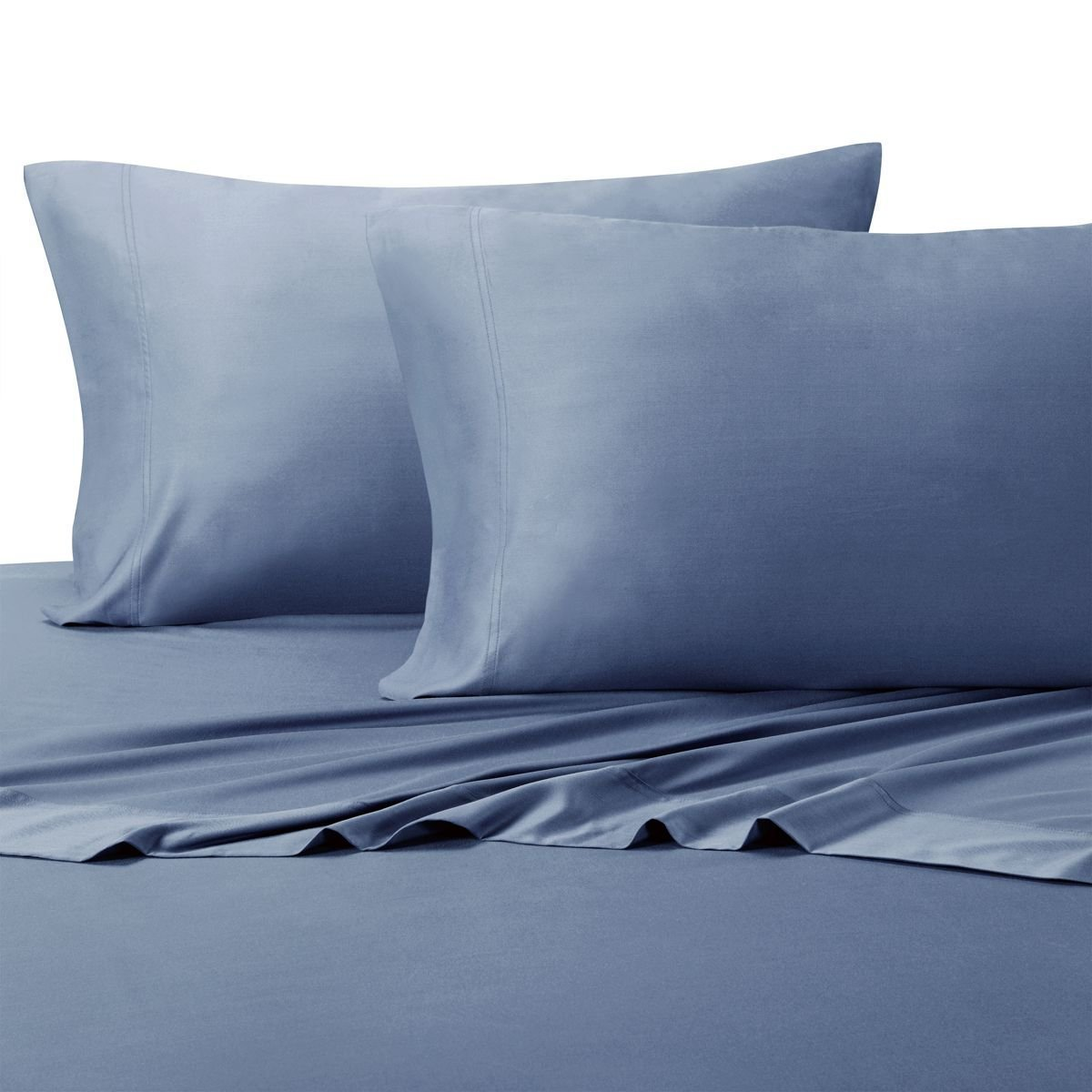 Top-Split-California-King: Adjustable Cal King Bed Sheets 4PC Solid Periwinkle 100% Cotton 600-Thread-Count, Deep Pocket