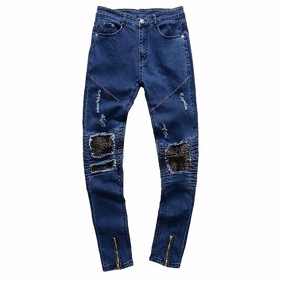 Celucke Herren Jeans Hose,Männer Röhrenjeans Ripped Slim Fit Reißverschluss  Motorrad Vintage Denim Jeanshosen Hiphop 007e057b9a