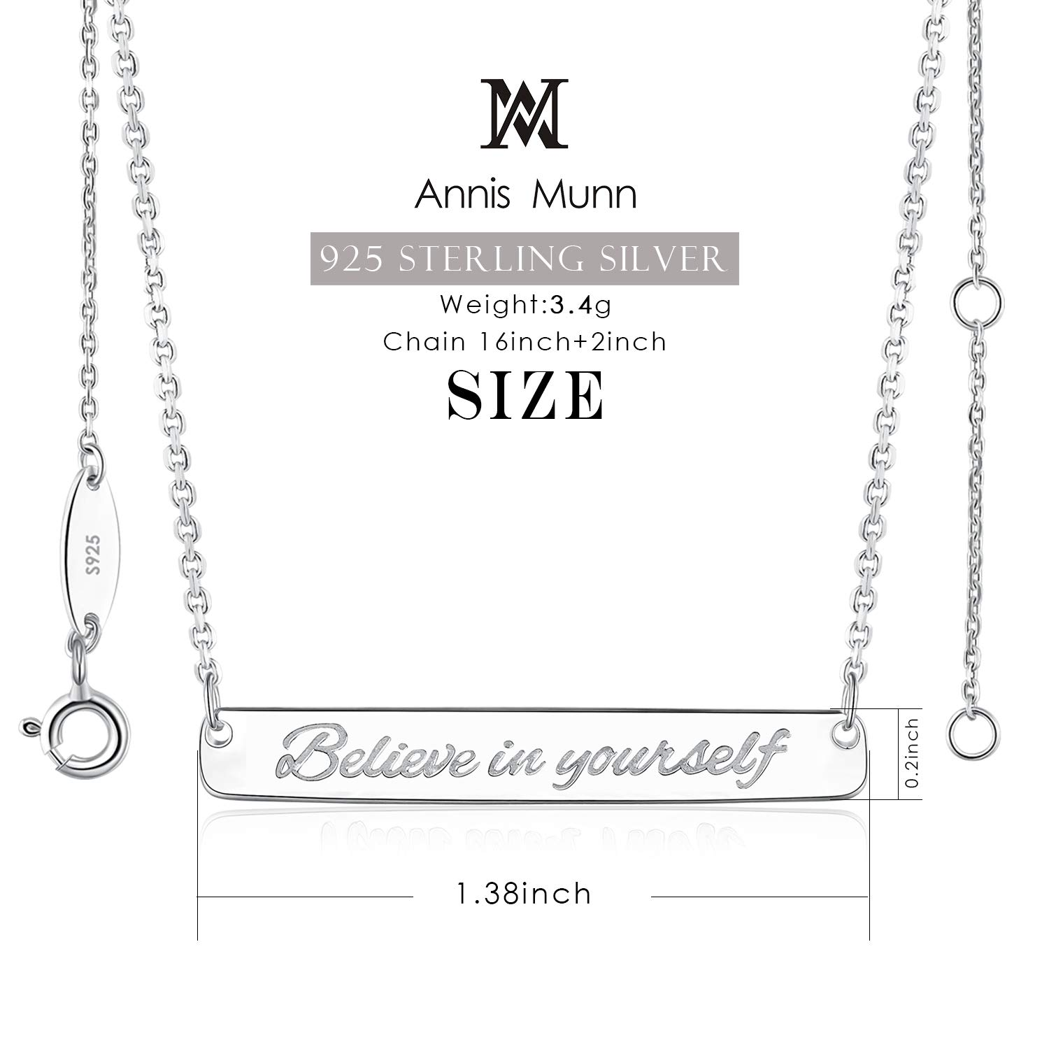 925 Sterling Silver Bar Necklace Engraved Believe in Yourself Christmas Day Jewelry Birthday Gift for Girls and Women Annis Munn Believe Necklace