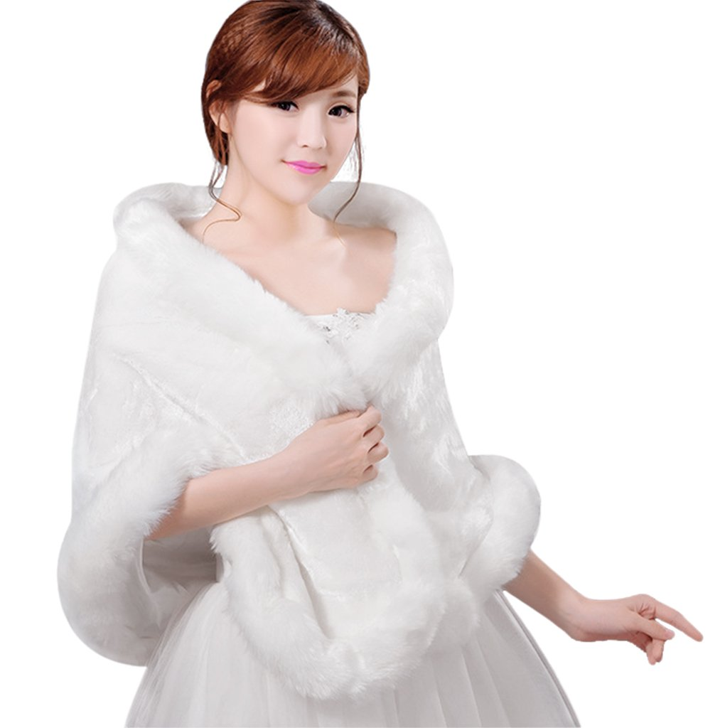 Fakeface Women Elegant Faux Fur Shoulder Cape Shawls Vintage Wedding Bridal Bridesmaid Capelets Shrug Wraps Dress Coat Tippet Off White