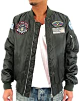 Future Bullet Men's MA-1 Bomber Flight Jacket Military Jacket with Patches