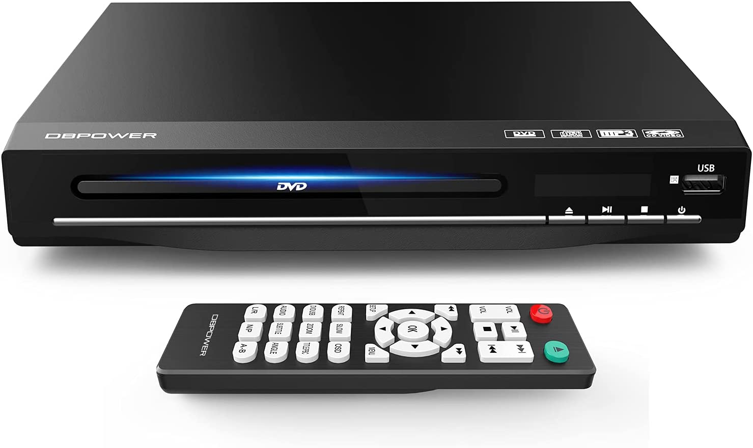 DBPOWER DVD Player for TV, Home DVD CD Player with HD 1080p Upscaling, HDMI & AV Output (HDMI & AV Cable Included), All-Region Free, Coaxial Port, USB Input, Remote Control Included