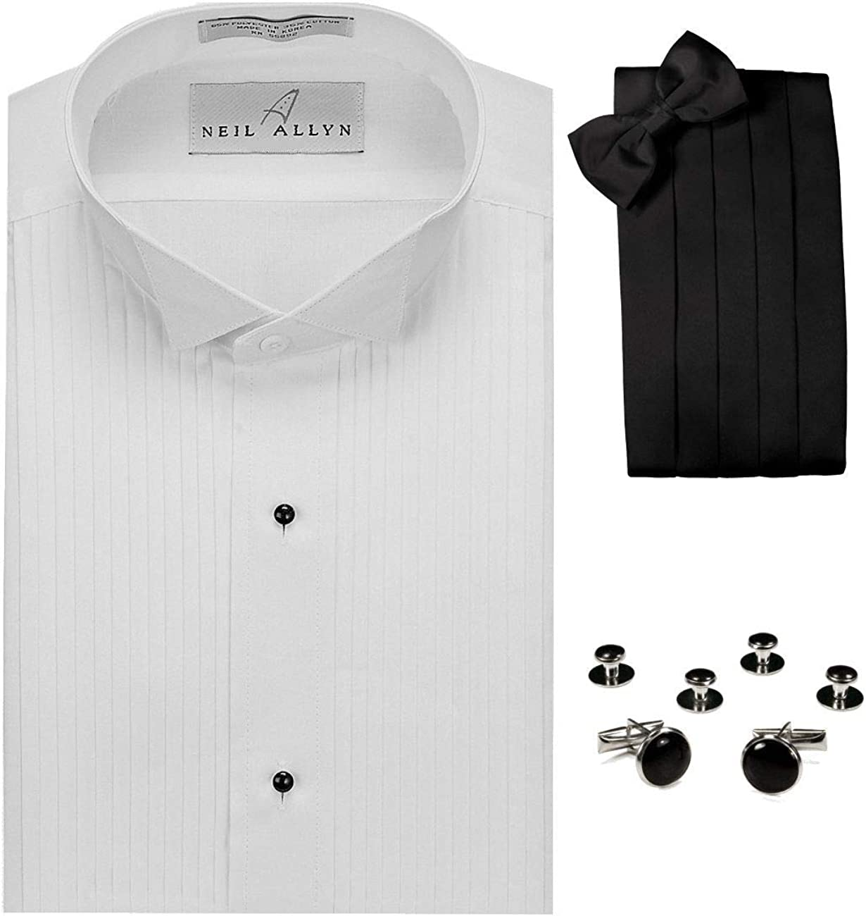 Juego de Camiseta de Esmoquin con Cuello Alado, Corbata, Gemelos y ...