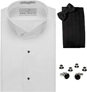 Juego de camisetas de esmoquin con cuello de ala, corbata, gemelos y tachuelas. - Blanco - Large, Cuello 41 cm- 42 cm, Largo de manga 91 cm- 94 cm: Amazon.es: Ropa y accesorios