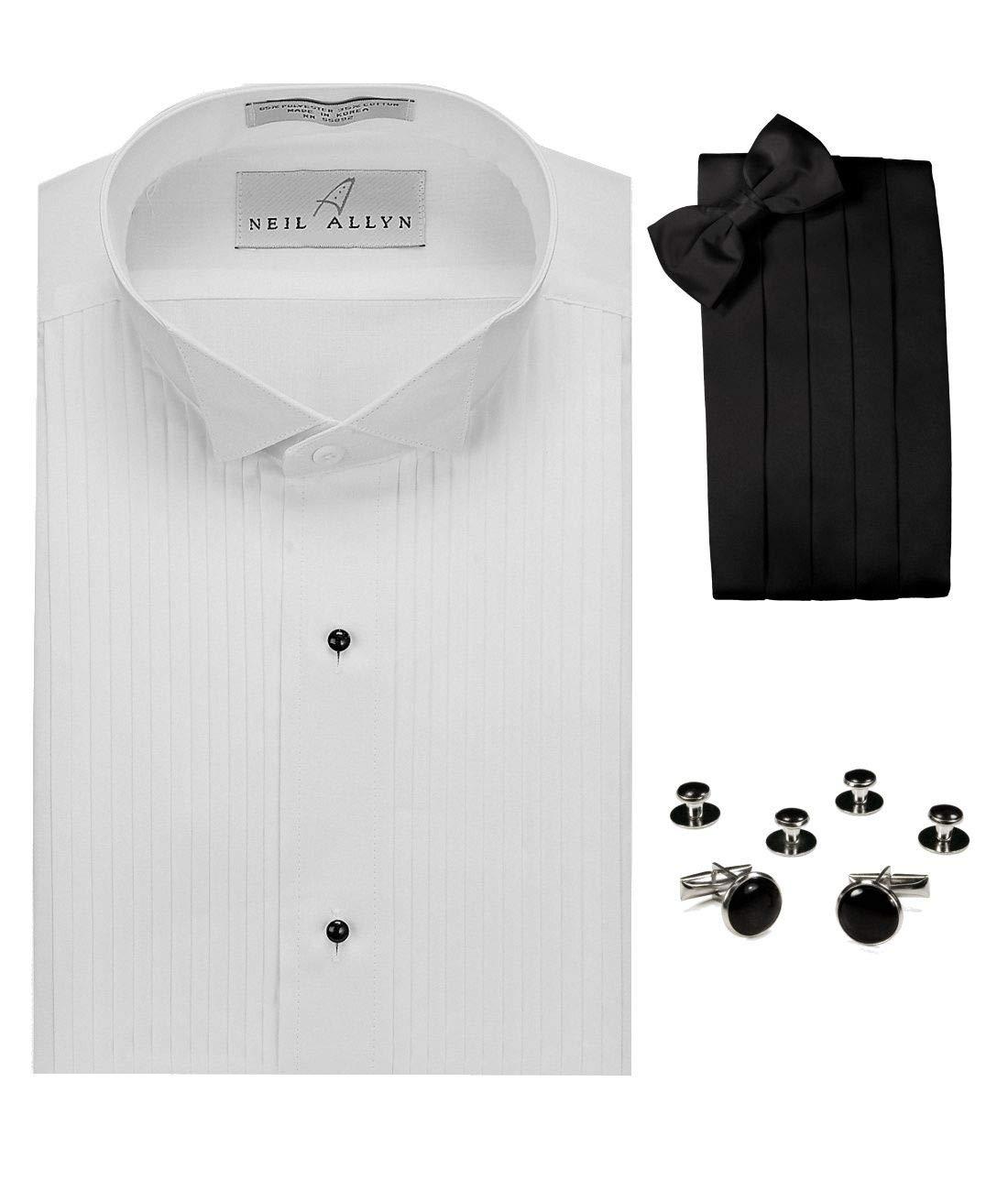 Wing Collar Tuxedo Shirt, Cummerbund, Bow-Tie, Cuff Links & Studs Set White by Neil Allyn