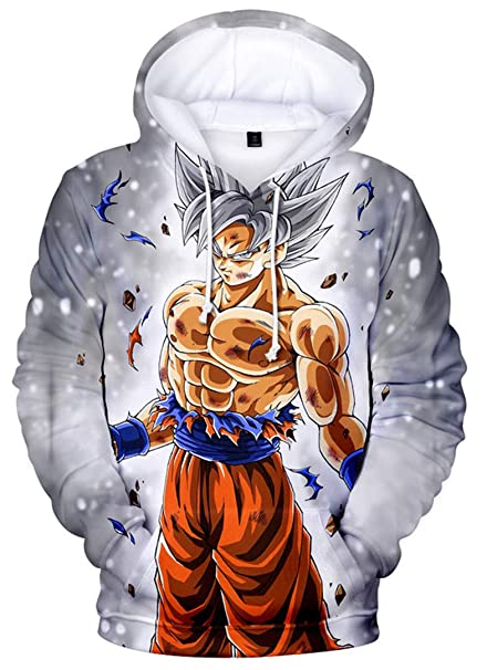 d5518781341 Silver Basic Men s Goku Vegeta Sweater Fashion Hoodie Kangaroo Pocket 3D  Design Dragon Ball Z DBZ