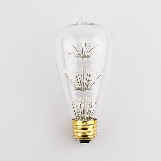 Vintage Star claras Edison Bombilla LED, coidak Antigua decorativa cortocircuito lámpara LED bombilla E26 ST64