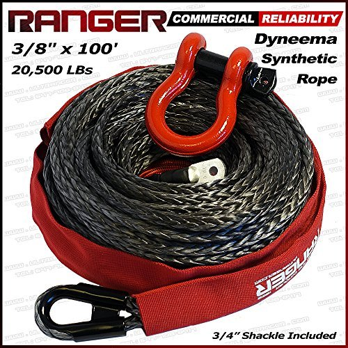 Ranger 3/8'' x 100' Durable UHMWPE Synthetic Winch Rope Cable 20,500LBs with Protective Sleeve by RANGER ULTRANGER