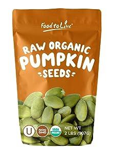 Pepitas / Semillas de calabaza orgánicas de Food to Live (Crudas, sin cascara) (2 Pounds)