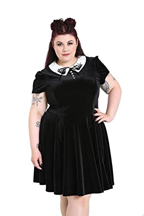 3d088a9351b Hell Bunny Plus Size Gothic Wednesday Addams Graveyard   Bats Mini Dress  2-4X (
