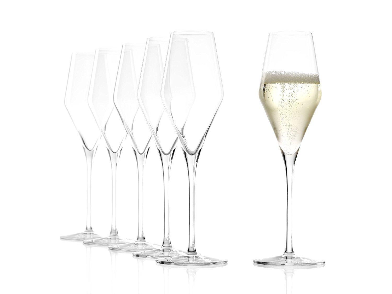 Stölzle Lausitz Copas de Champaña Quatrophil, 292 ml, Set de 6, Vidrio soplado